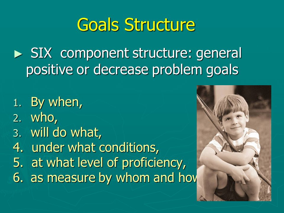 Goals Structure ► SIX component structure: general positive or decrease problem goals positive or decrease problem goals 1.