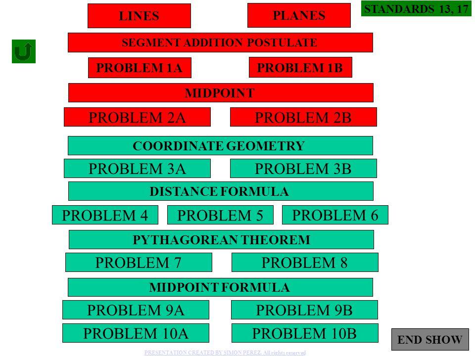 1 PROBLEM 2A PROBLEM 3A PROBLEM 2B PROBLEM 3B PROBLEM 4 PROBLEM 9BPROBLEM 9A PROBLEM 5 LINES STANDARDS 13, 17 SEGMENT ADDITION POSTULATE MIDPOINT PROB