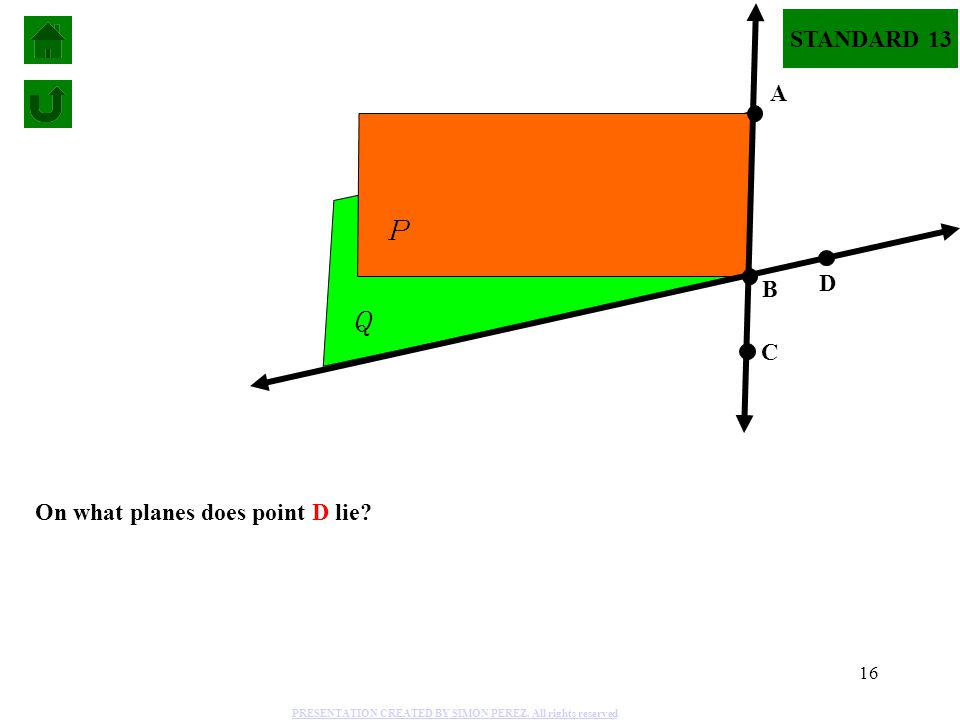 16 On what planes does point D lie? P Q A B C D STANDARD 13 PRESENTATION CREATED BY SIMON PEREZ. All rights reserved