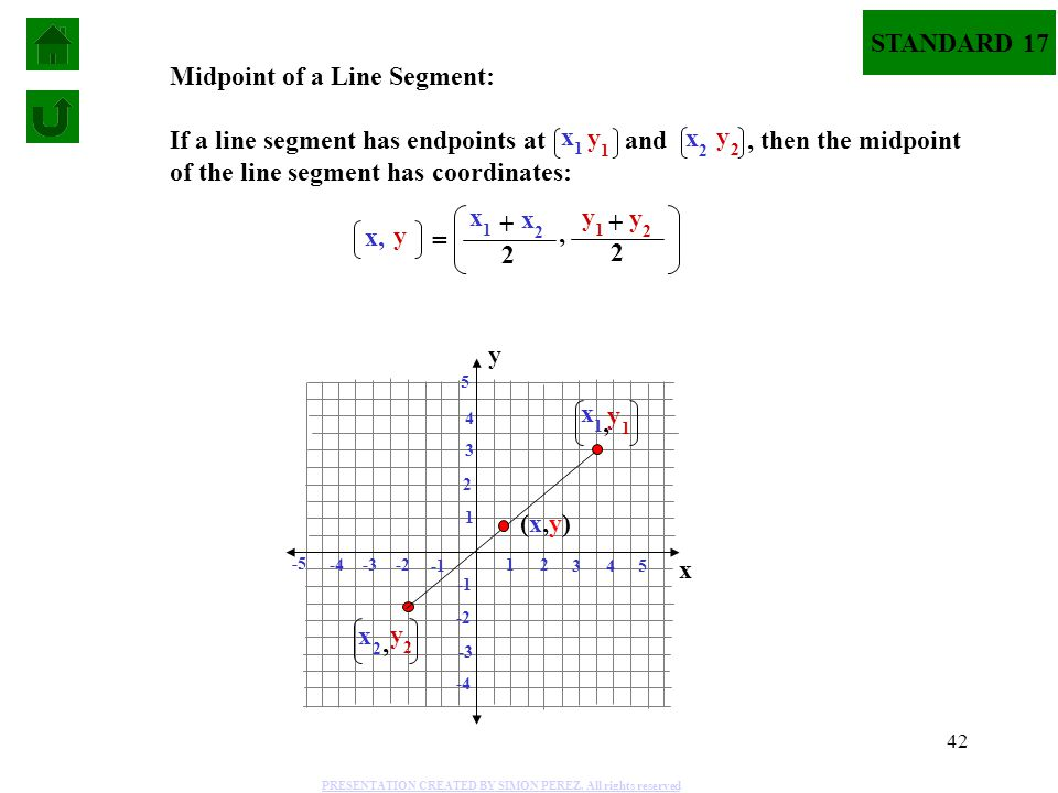 42 Midpoint of a Line Segment: If a line segment has endpoints at and, then the midpoint of the line segment has coordinates: y 1 x 1 y 2 x 2 y x, = x