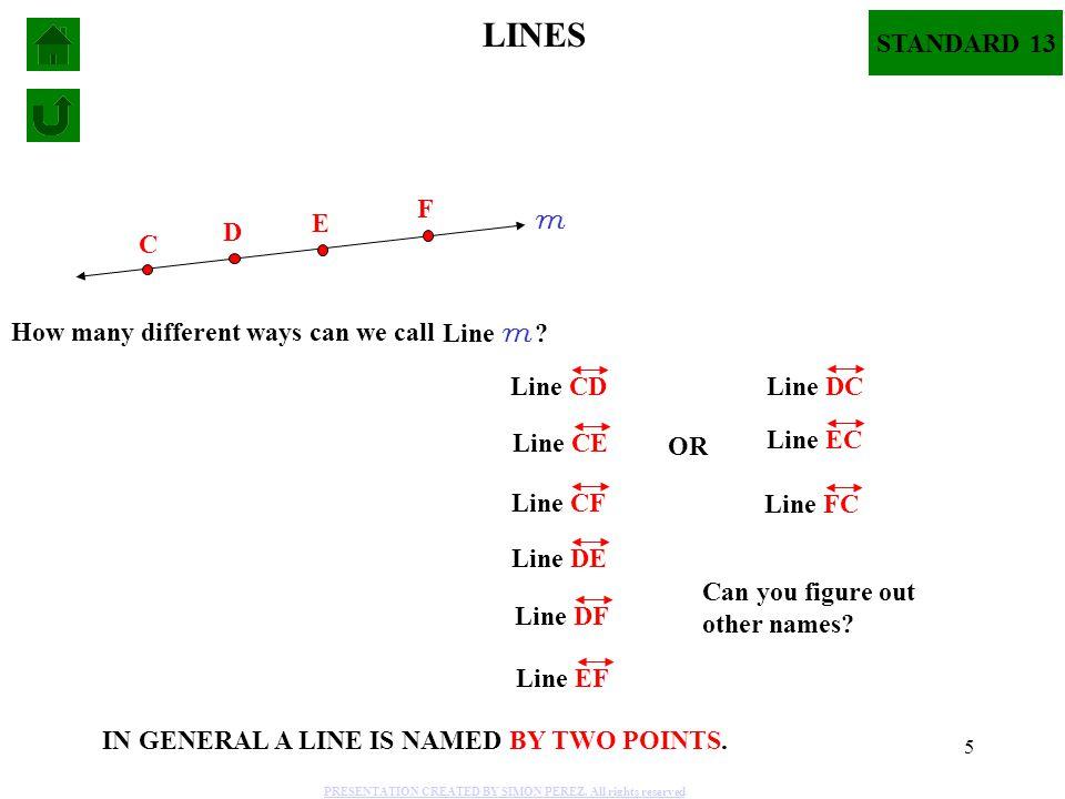 5 C F Line CD m Line m ? LINES D E How many different ways can we call Line CE Line CF Line DE Line DF Line EF Line DC Line EC Line FC Can you figure