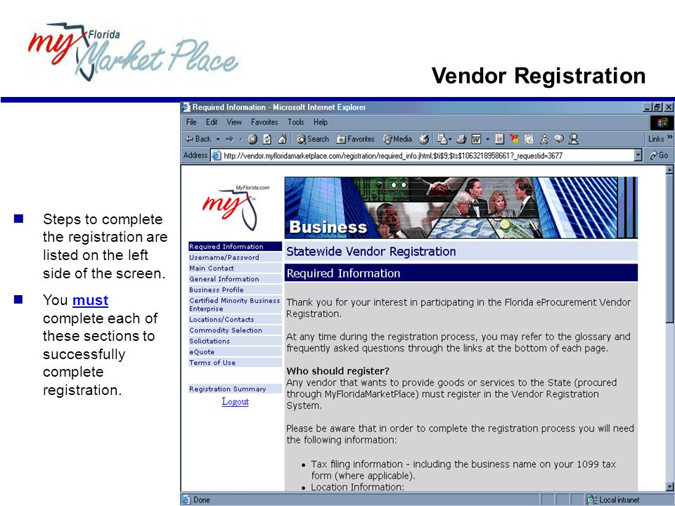 Vendor Registration Steps to complete the registration are listed on the left side of the screen.
