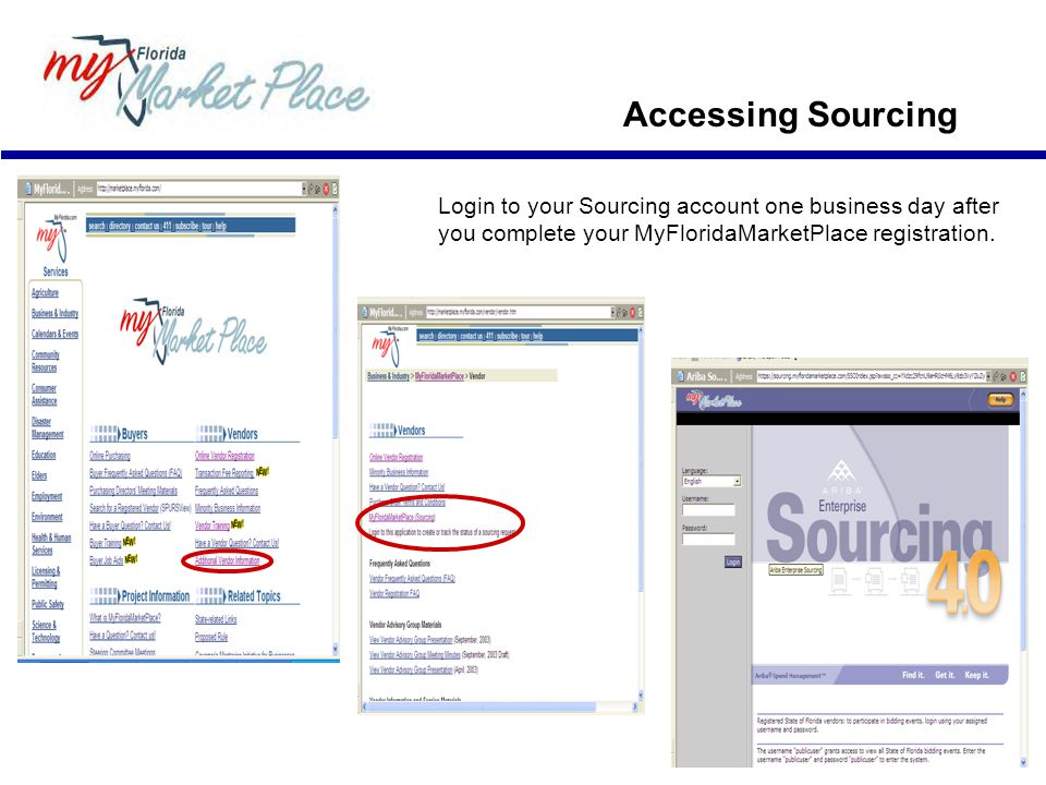 Login to your Sourcing account one business day after you complete your MyFloridaMarketPlace registration.