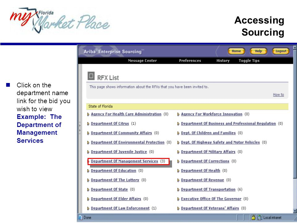 Accessing Sourcing Click on the department name link for the bid you wish to view Example: The Department of Management Services