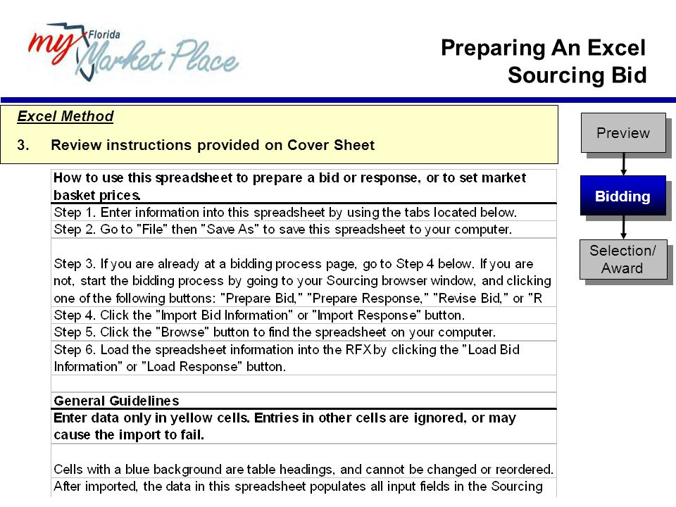 Preview Bidding Selection/ Award Excel Method 3.Review instructions provided on Cover Sheet Preparing An Excel Sourcing Bid