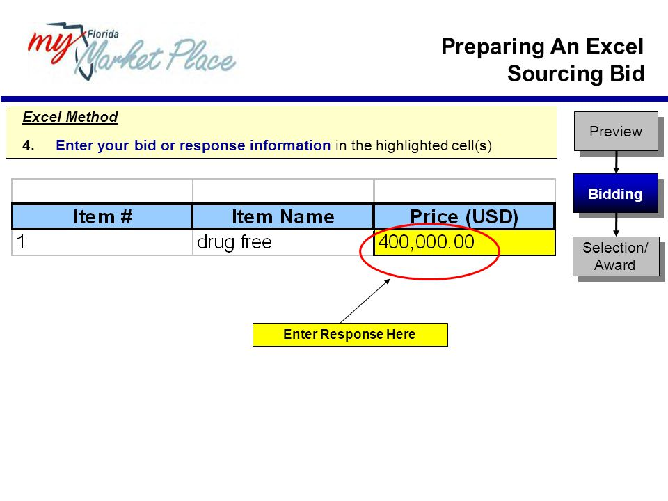 Excel Method 4.Enter your bid or response information in the highlighted cell(s) Enter Response Here Preview Bidding Selection/ Award Preparing An Excel Sourcing Bid
