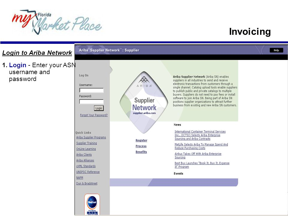 Login to Ariba Network 1.Login - Enter your ASN username and password Invoicing