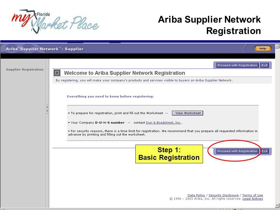 Ariba Supplier Network Registration Step 1: Basic Registration