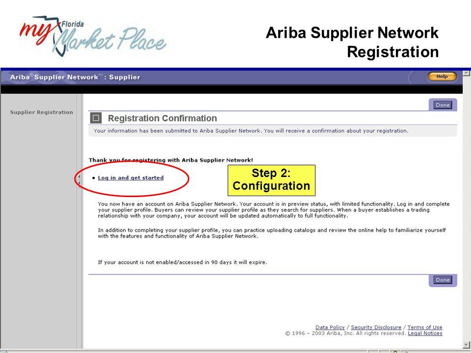Step 2: Configuration Ariba Supplier Network Registration