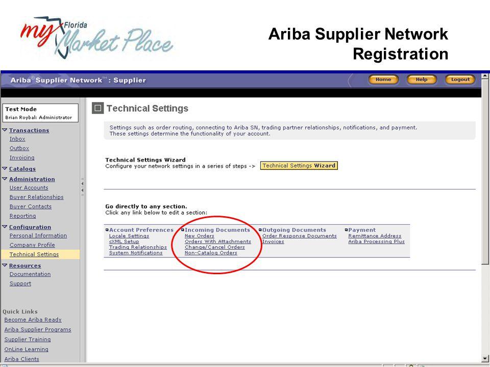 Ariba Supplier Network Registration