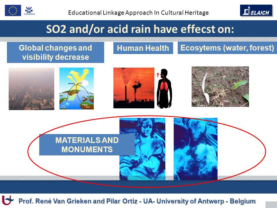 Educational Linkage Approach In Cultural Heritage Prof. René Van Grieken and Pilar Ortiz - UA- University of Antwerp - Belgium SO2 and/or acid rain ha