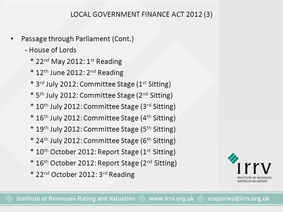 LOCAL GOVERNMENT FINANCE ACT 2012 (3) Passage through Parliament (Cont.) - House of Lords * 22 nd May 2012: 1 st Reading * 12 th June 2012: 2 nd Readi