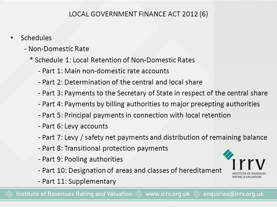 LOCAL GOVERNMENT FINANCE ACT 2012 (6) Schedules - Non-Domestic Rate * Schedule 1: Local Retention of Non-Domestic Rates - Part 1: Main non-domestic ra