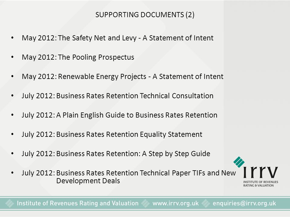 SUPPORTING DOCUMENTS (2) May 2012: The Safety Net and Levy - A Statement of Intent May 2012: The Pooling Prospectus May 2012: Renewable Energy Project