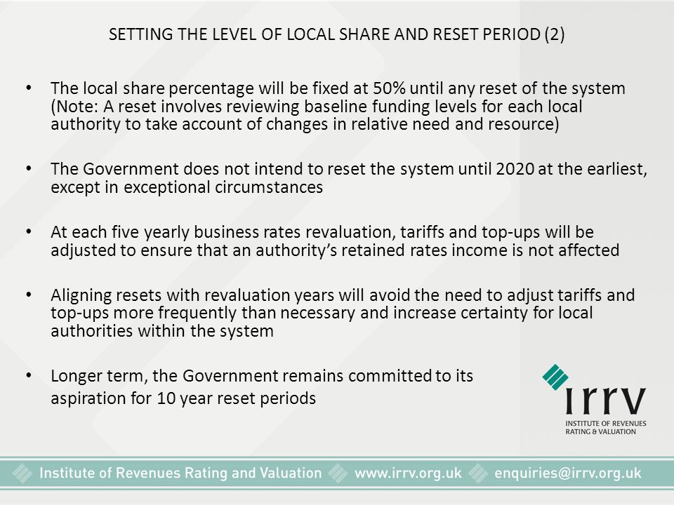SETTING THE LEVEL OF LOCAL SHARE AND RESET PERIOD (2) The local share percentage will be fixed at 50% until any reset of the system (Note: A reset inv