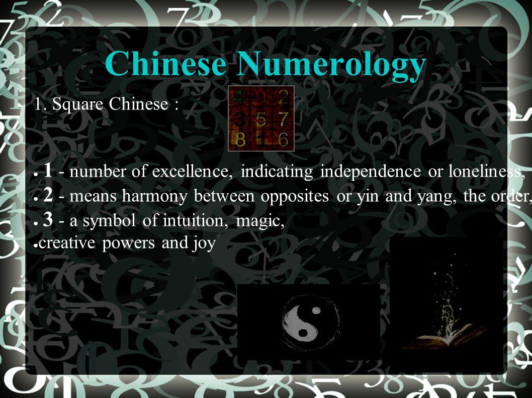 Chinese Numerology 1.