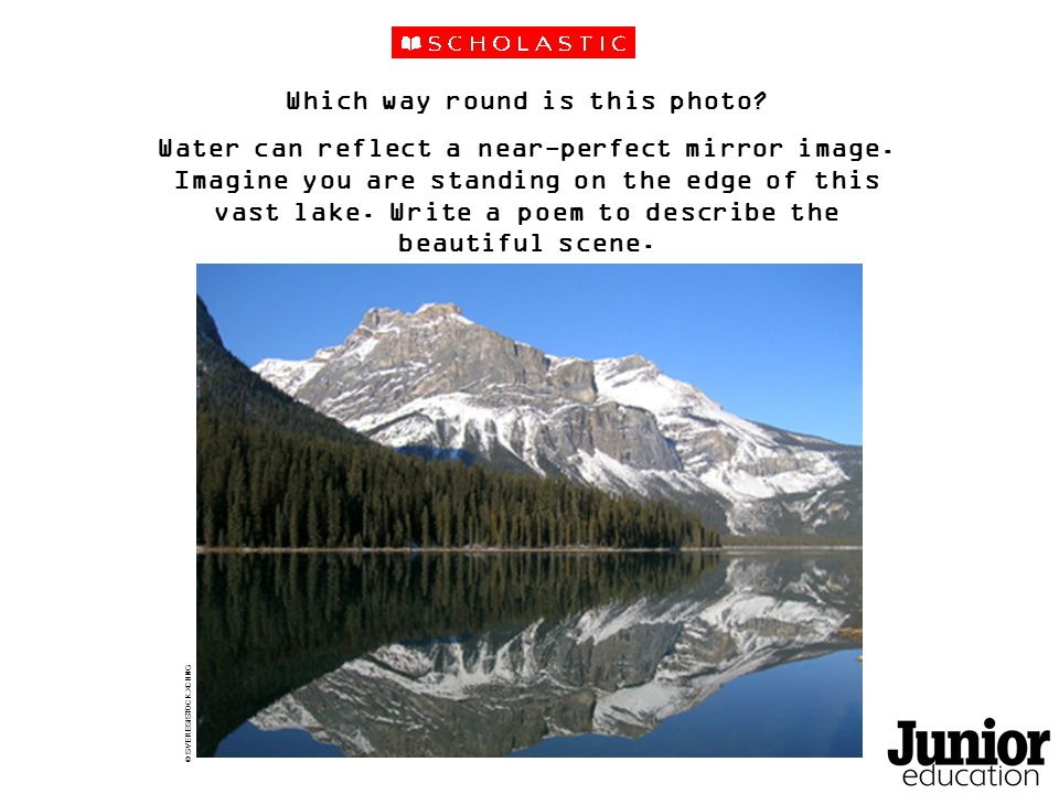 Which way round is this photo. Water can reflect a near-perfect mirror image.
