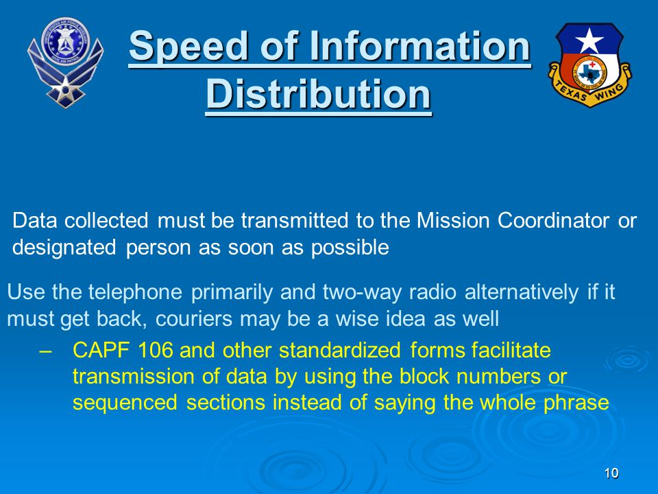 Speed of Information Distribution Speed of Information Distribution Data collected must be transmitted to the Mission Coordinator or designated person as soon as possible Use the telephone primarily and two-way radio alternatively if it must get back, couriers may be a wise idea as well –CAPF 106 and other standardized forms facilitate transmission of data by using the block numbers or sequenced sections instead of saying the whole phrase 10