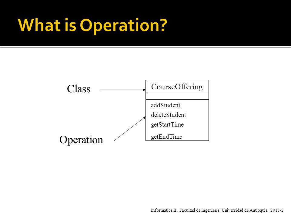 CourseOffering addStudent deleteStudent getStartTime getEndTime Class Operation Informática II.