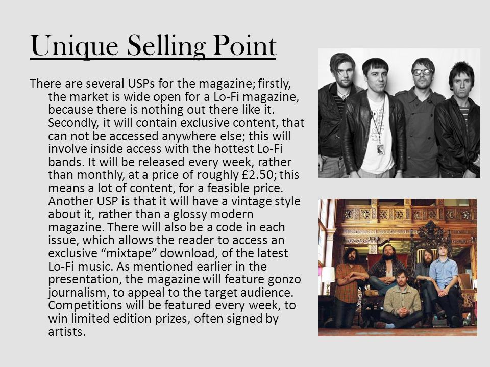 Unique Selling Point There are several USPs for the magazine; firstly, the market is wide open for a Lo-Fi magazine, because there is nothing out there like it.