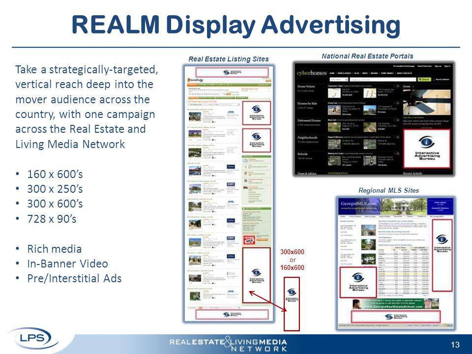 REALM Display Advertising 13 Take a strategically-targeted, vertical reach deep into the mover audience across the country, with one campaign across t