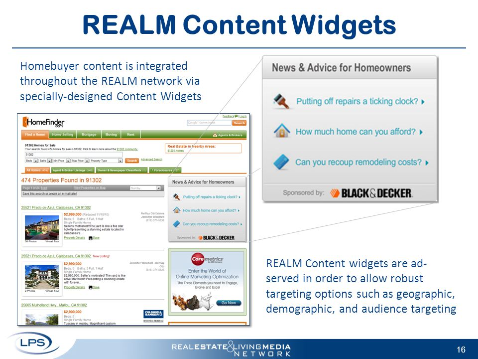 16 REALM Content Widgets Homebuyer content is integrated throughout the REALM network via specially-designed Content Widgets REALM Content widgets are