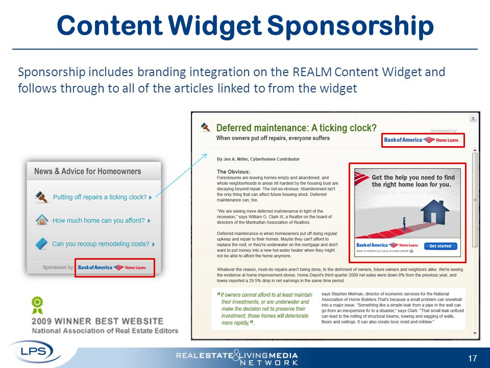17 Content Widget Sponsorship Sponsorship includes branding integration on the REALM Content Widget and follows through to all of the articles linked