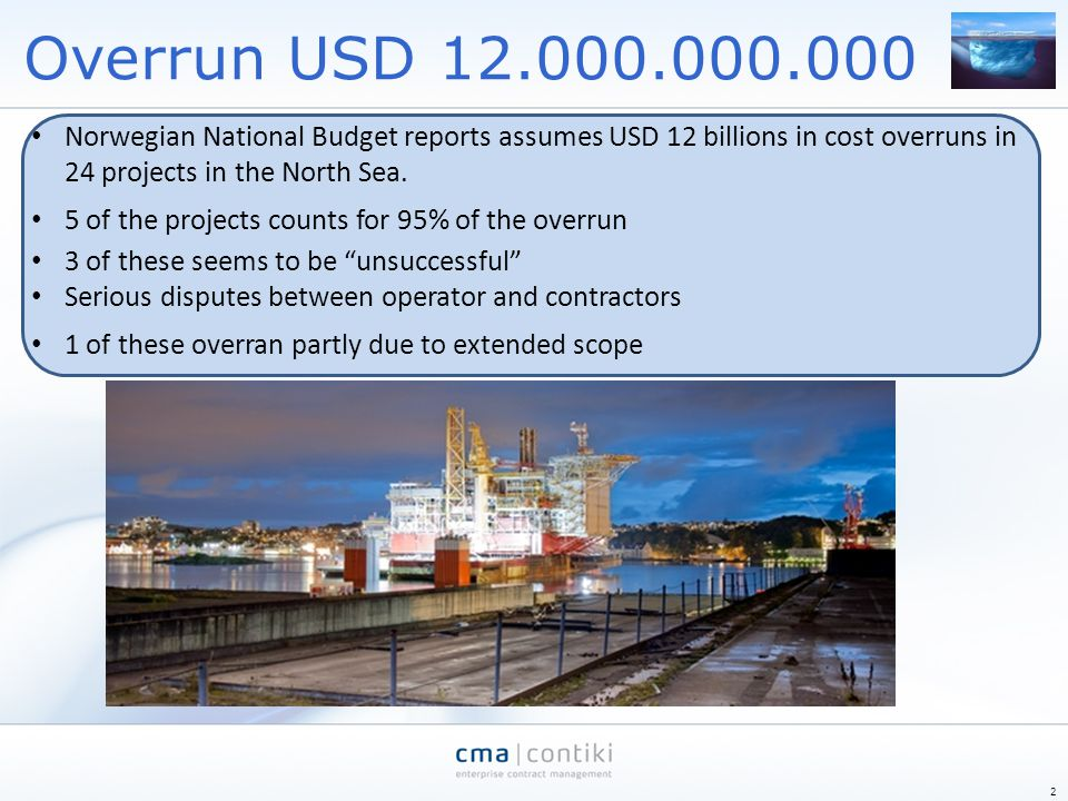 Overrun USD 12.000.000.000 Norwegian National Budget reports assumes USD 12 billions in cost overruns in 24 projects in the North Sea.