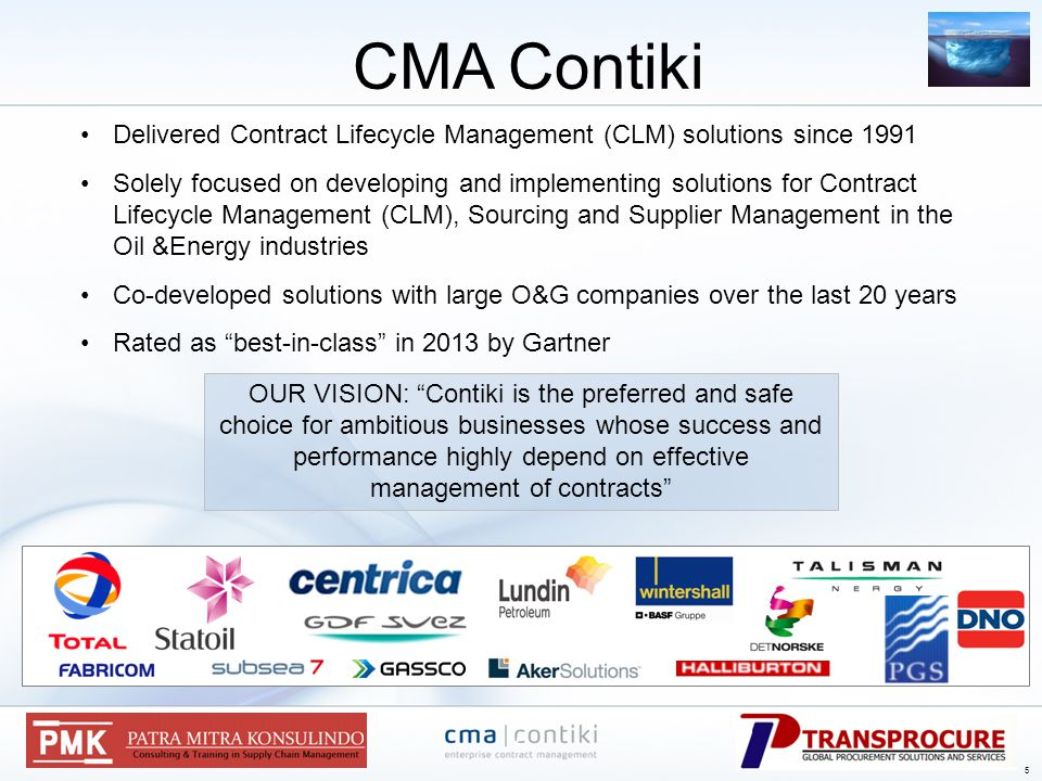 Delivered Contract Lifecycle Management (CLM) solutions since 1991 Solely focused on developing and implementing solutions for Contract Lifecycle Management (CLM), Sourcing and Supplier Management in the Oil &Energy industries Co-developed solutions with large O&G companies over the last 20 years Rated as best-in-class in 2013 by Gartner CMA Contiki OUR VISION: Contiki is the preferred and safe choice for ambitious businesses whose success and performance highly depend on effective management of contracts 5 5