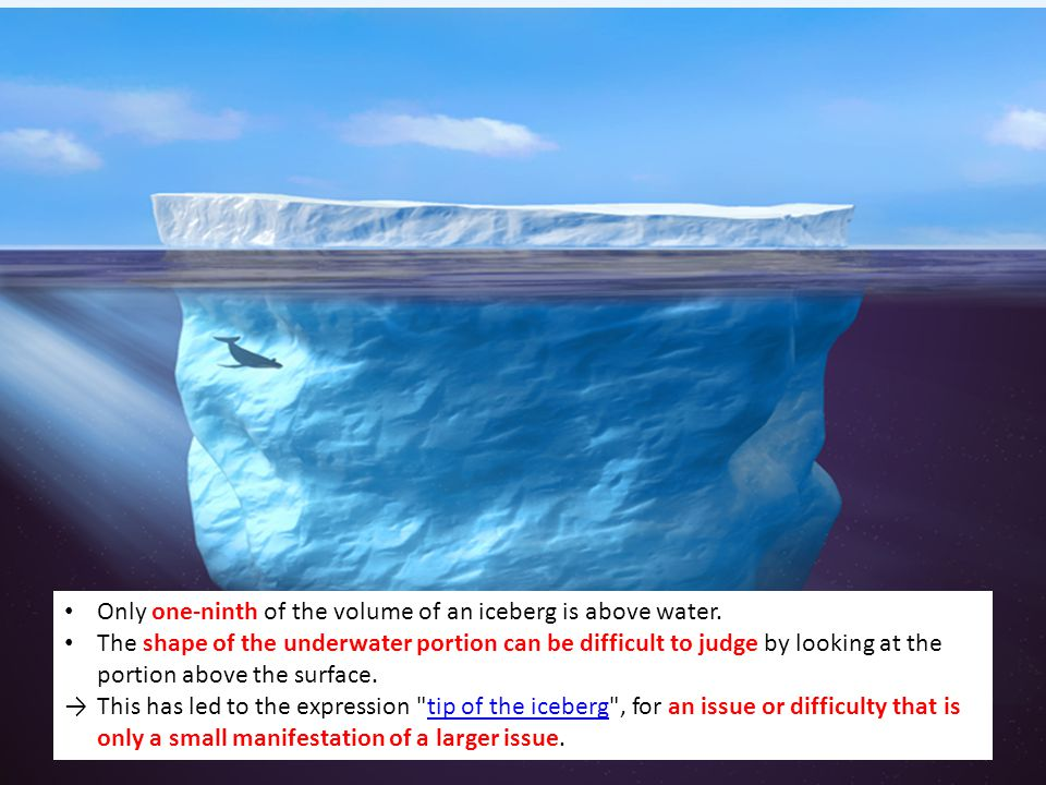 Only one-ninth of the volume of an iceberg is above water. The shape of the underwater portion can be difficult to judge by looking at the portion abo