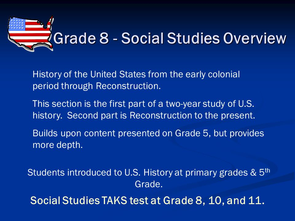 Grade 7 - Social Studies Overview History of Texas from early times to the present. More in depth than what was presented in Grade 4. Native American