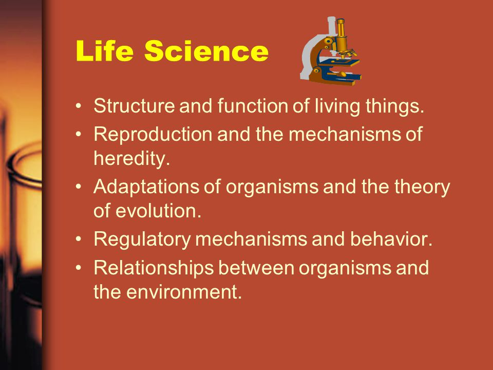 Physical Science –Force and motion and their relationships. –Physical properties and changes in matter. –Chemical properties and changes in matter. –E