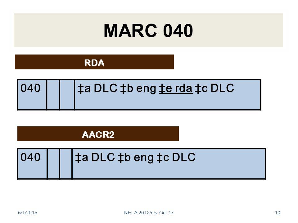 MARC 040 040‡a DLC ‡b eng ‡c DLC AACR2 RDA 040‡a DLC ‡b eng ‡e rda ‡c DLC 5/1/201510NELA 2012/rev Oct 17