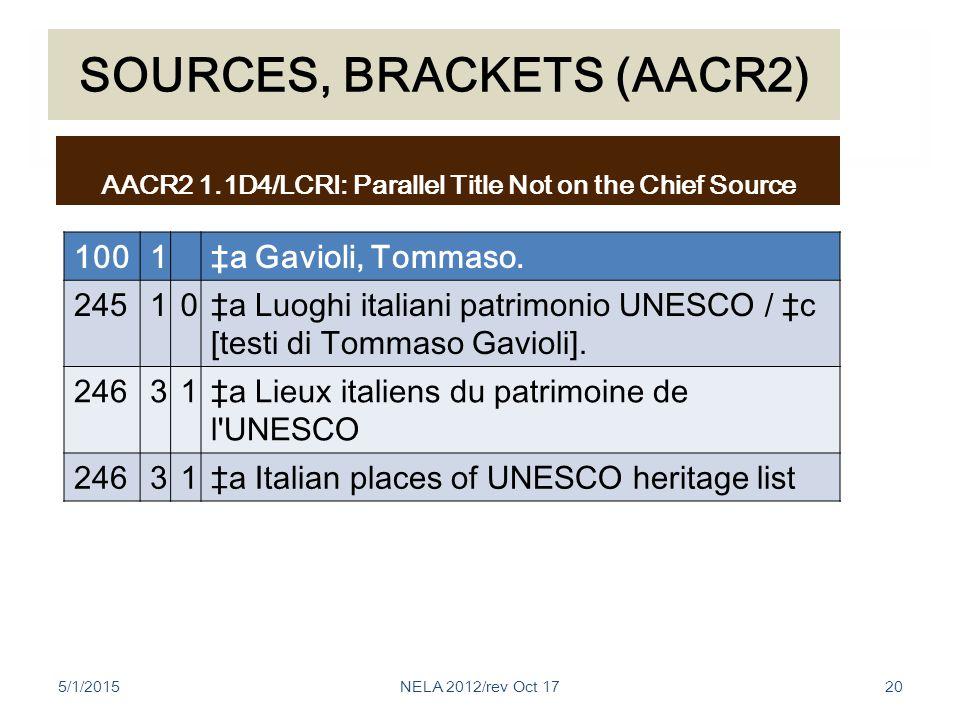 SOURCES, BRACKETS (AACR2) 1001‡a Gavioli, Tommaso.