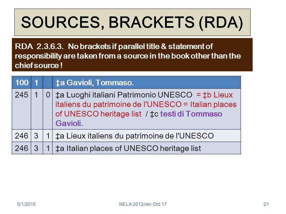 SOURCES, BRACKETS (RDA) 1001‡a Gavioli, Tommaso.