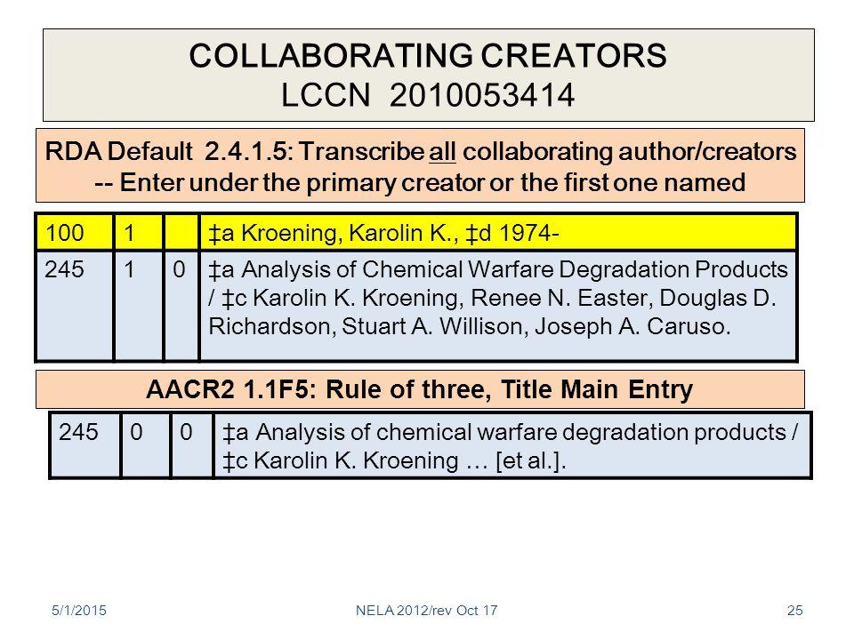 COLLABORATING CREATORS LCCN 2010053414 5/1/201525 1001‡a Kroening, Karolin K., ‡d 1974- 24510‡a Analysis of Chemical Warfare Degradation Products / ‡c Karolin K.