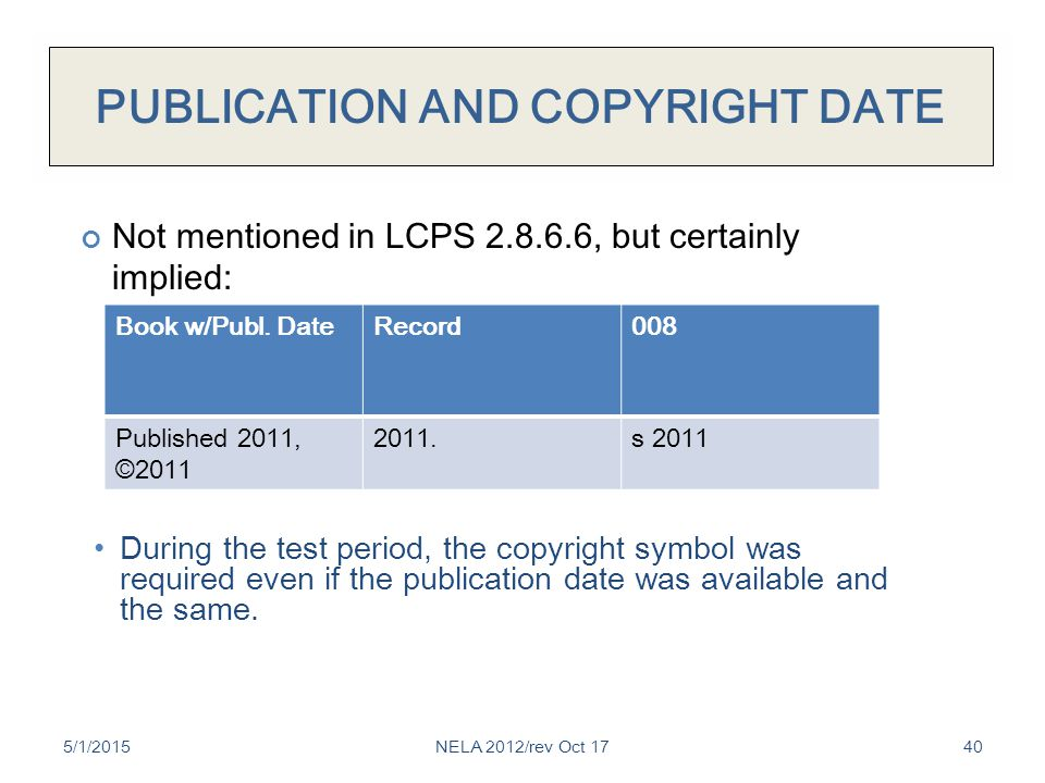 PUBLICATION AND COPYRIGHT DATE 5/1/201540 During the test period, the copyright symbol was required even if the publication date was available and the same.