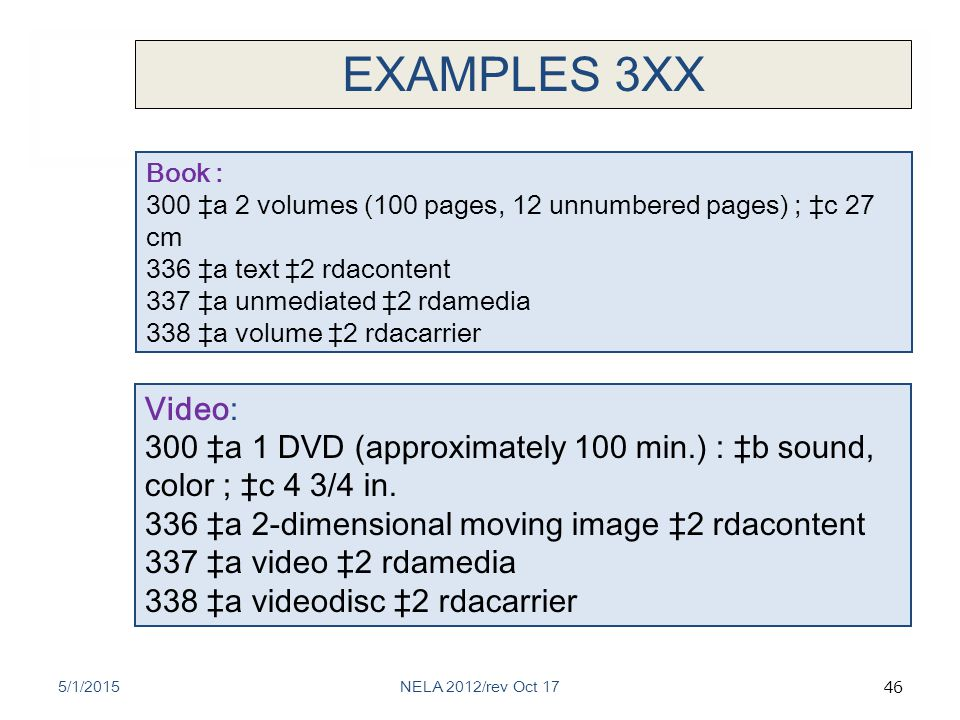 46 Video: 300 ‡a 1 DVD (approximately 100 min.) : ‡b sound, color ; ‡c 4 3/4 in.