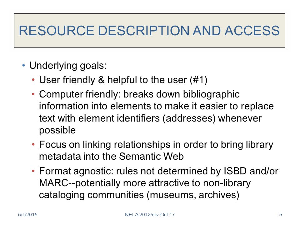 RESOURCE DESCRIPTION AND ACCESS Underlying goals: User friendly & helpful to the user (#1) Computer friendly: breaks down bibliographic information into elements to make it easier to replace text with element identifiers (addresses) whenever possible Focus on linking relationships in order to bring library metadata into the Semantic Web Format agnostic: rules not determined by ISBD and/or MARC--potentially more attractive to non-library cataloging communities (museums, archives) 5/1/2015NELA 2012/rev Oct 175