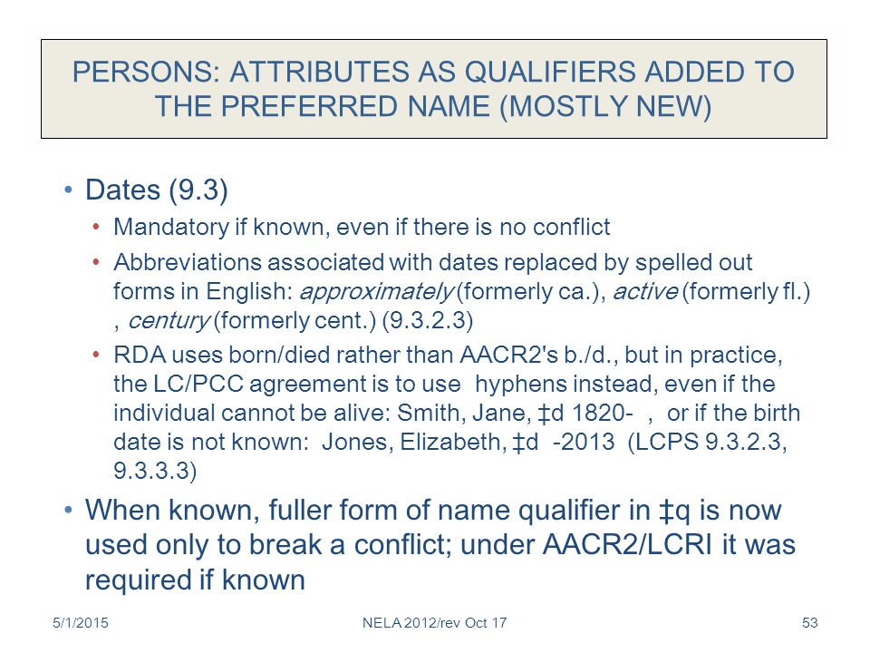 PERSONS: ATTRIBUTES AS QUALIFIERS ADDED TO THE PREFERRED NAME (MOSTLY NEW) Dates (9.3) Mandatory if known, even if there is no conflict Abbreviations