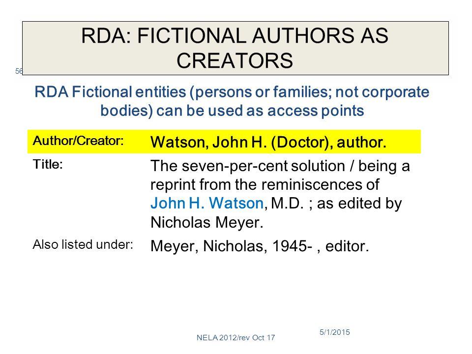 RDA: FICTIONAL AUTHORS AS CREATORS Author/Creator: Watson, John H.