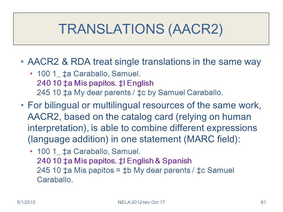 TRANSLATIONS (AACR2) AACR2 & RDA treat single translations in the same way 100 1_ ‡a Caraballo, Samuel.