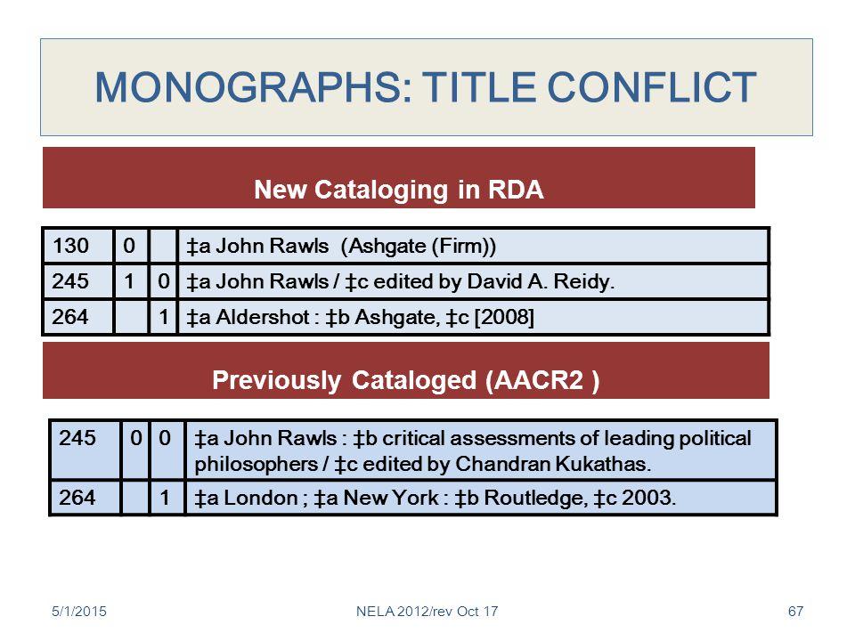 MONOGRAPHS: TITLE CONFLICT 5/1/201567 1300‡a John Rawls (Ashgate (Firm)) 24510‡a John Rawls / ‡c edited by David A.