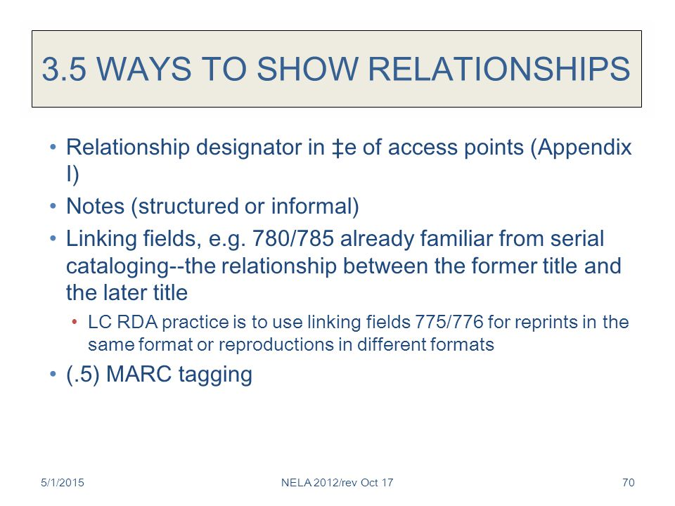 3.5 WAYS TO SHOW RELATIONSHIPS Relationship designator in ‡e of access points (Appendix I) Notes (structured or informal) Linking fields, e.g.