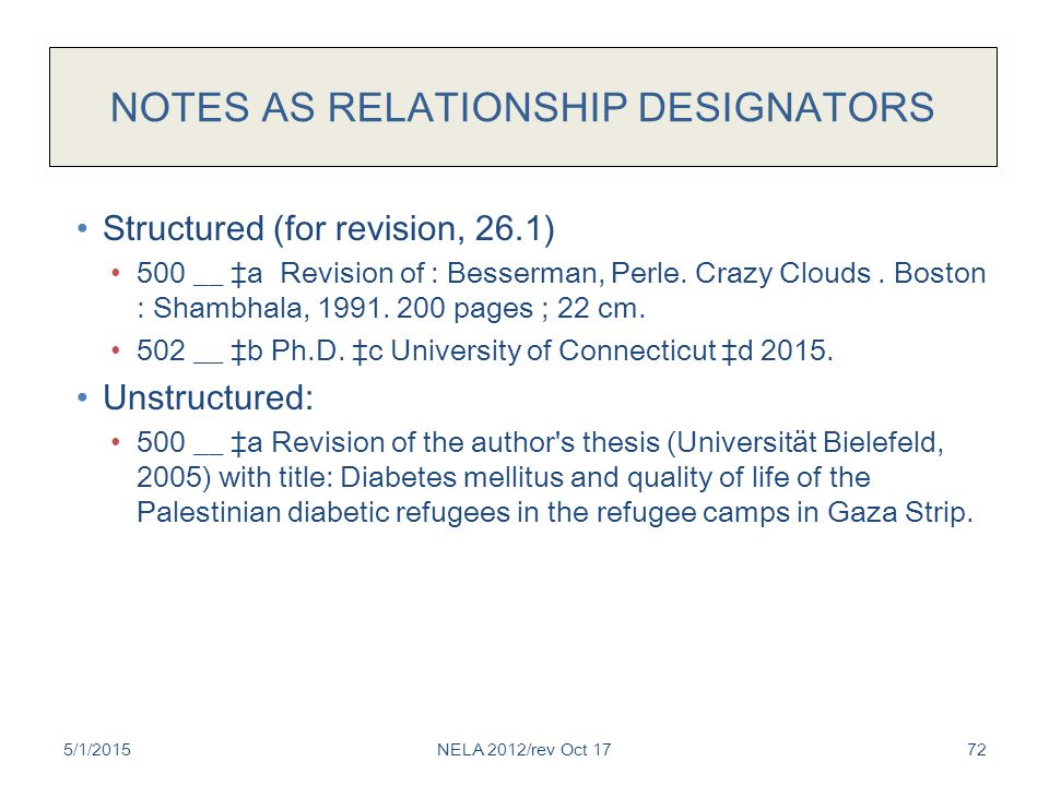 NOTES AS RELATIONSHIP DESIGNATORS Structured (for revision, 26.1) 500 __ ‡a Revision of : Besserman, Perle. Crazy Clouds. Boston : Shambhala, 1991. 20