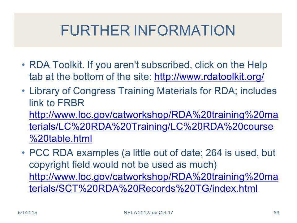FURTHER INFORMATION RDA Toolkit.
