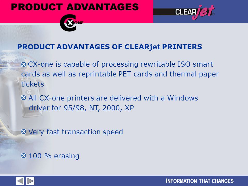 I NFORMATION THAT CHANGES PRODUCT ADVANTAGES CX-one is capable of processing rewritable ISO smart cards as well as reprintable PET cards and thermal p