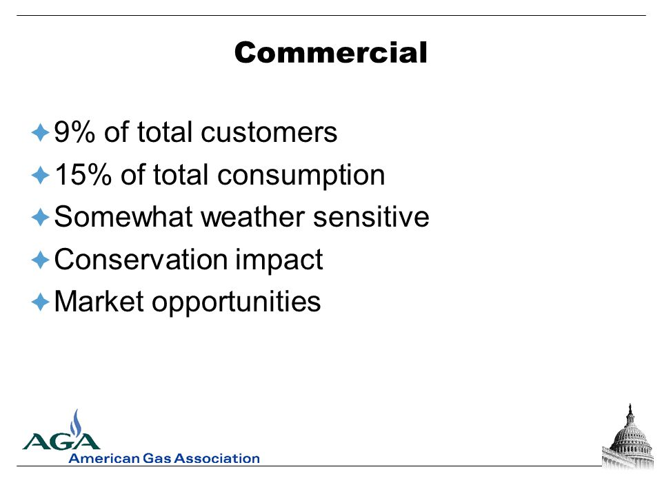 Residential  90% of total customers  22% of total consumption  Weather sensitive  Conservation impact