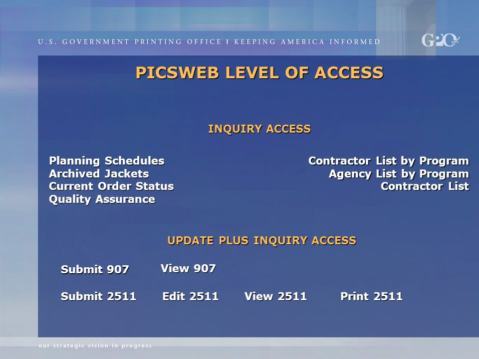PICSWEB LEVEL OF ACCESS Planning Schedules Archived Jackets Current Order Status Quality Assurance Contractor List by Program Agency List by Program Contractor List Submit 907 View 907 Submit 2511 Edit 2511 View 2511 Print 2511 INQUIRY ACCESS UPDATE PLUS INQUIRY ACCESS
