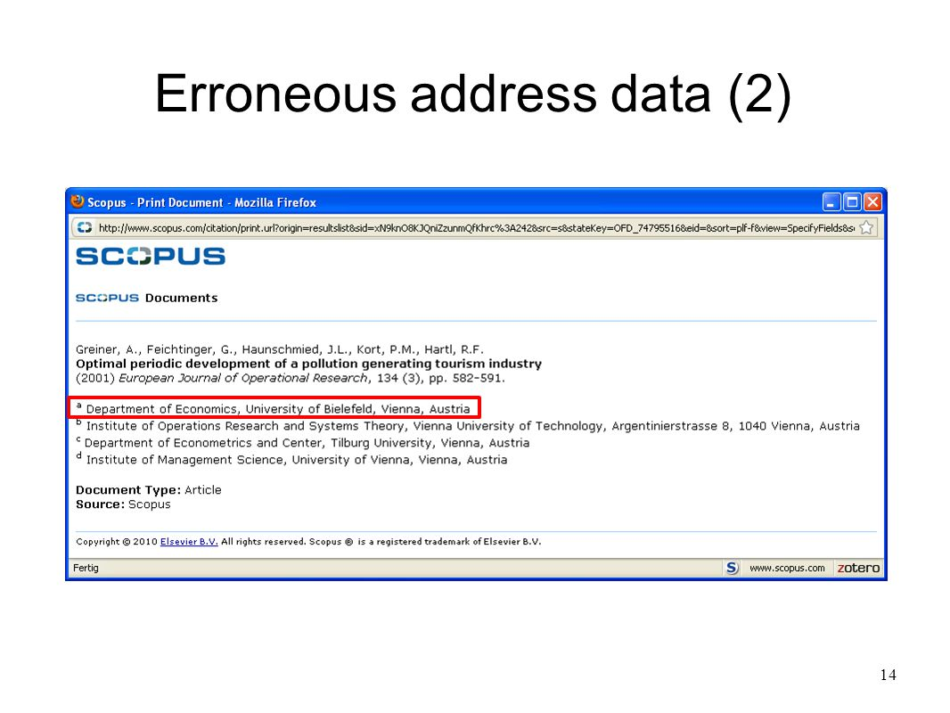 14 Erroneous address data (2)